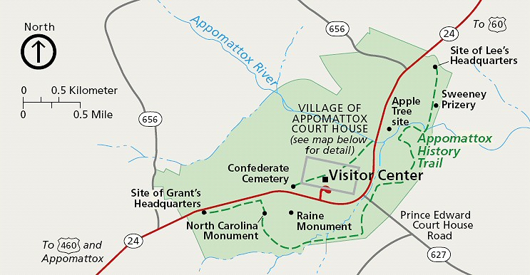 Appomattox Court House National Historical Park Map.